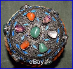Chinese Old/Antique Silver Enamel Box Inlaid Stones 3 Bangles Marked