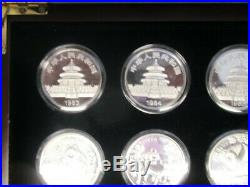 Chinese Panda Silver And Gold Coins Random Date In A Wooden Presentation Box