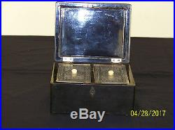 Chinese Qing Dy Paktong Hand Carved Pewter Export Lacquer Tea Caddy Box