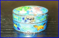 Chinese Rabbit Design Sterling Silver Cloisonne Enamel Pill Snuff Jar Box