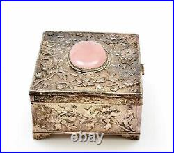 Chinese Rose Quartz Carved Plaque Silver Plated NOT SILVER Enamel Box Flower