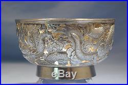 Chinese Shanghai Sterling Silver Pierced Repousse Dragon Bowl Circa 1900