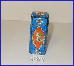 Chinese Silver Cloisonne Blue Enamel Ducks Birds Opium Canister Jar Box