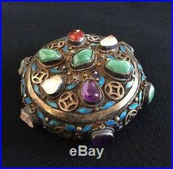 Chinese Silver Cloisonne Enamel Box Tea Caddy-gilt gold-tone 2 jade bracelets