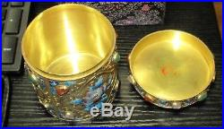 Chinese Silver Cloisonne Enamel White Jade And Gemstones Canister Caddy Jar Box