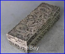 Chinese Silver Dragon Beast Box Boxes Pot Jar Statue