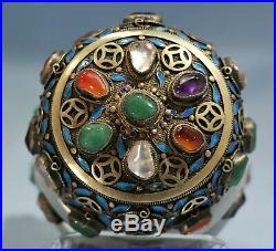 Chinese Silver Filigree Enamel Jadeite Bangles Emerald Agate Rock Crystal Box