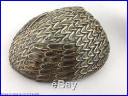 Chinese Silver Gilded & Enameled Filigree Figural Bird Box Tea Caddy