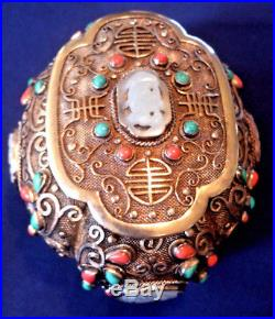 Chinese Silver & Gilt Jewel Box with white jade, turquiose, red coral