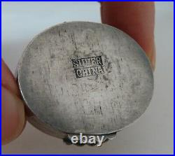 Chinese Silver Pill Box Carved Turquoise Top 80415
