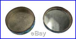 Chinese Silver Plated Copper & Enamel Round Compact Vanity Box, c. 1920