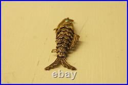 Chinese Silver Turquoise Articulated Filigree Koi Fish Pill Box Pendant 121120e