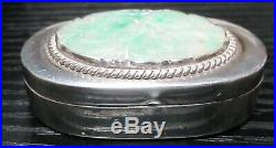Chinese Silver White & Emerald Green Jade Floral Trinket Pill Box
