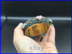 Chinese Silver, enamel, jade and gem covered box