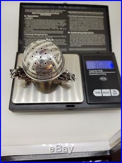 Chinese Solid Silver Dragons Nutmeg Grater / Shaker / Incense Burner Antique
