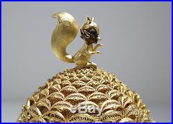 Chinese Sterling Gilt-Silver Filigree Pine-Nut Squirrel Enamel Box 20th Century