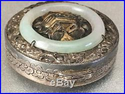 Chinese Sterling Silver Box Case Inlaid With Jade Ring