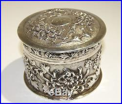 Chinese Sterling Silver Box High Relief Chrysanthemums Motif late 19th century