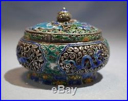 Chinese Sterling Silver Enamel Pierced Lidded Box/Incense Burner early 20th C