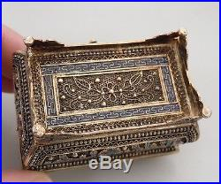 Chinese Sterling Silver Export Enamel Filigree Mini Chest