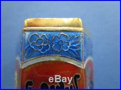 Chinese. Sterling Silver Gold Gilt Enamel Cloisonne Bats Hexagonal Opium B