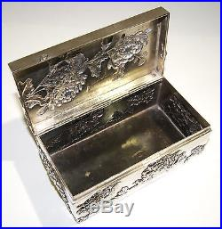 Chinese Sterling Silver High Relief Chrysanthemums Cigar Box by Wang Hing 1900s