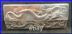 Chinese Wang Hing Sterling Silver Dresser / Desk Box Raised Dragon Decorations