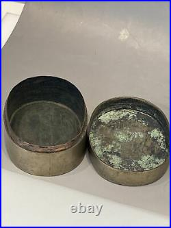 Chinese White Brass Copperr Ink Box 3.75