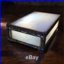 Chinese White Onyx box with silvered copper & enamel frame, c. 1910
