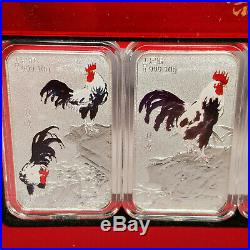 Chinese Year of The Rooster Presentation Box 4 x 10g Silver Bars with COA