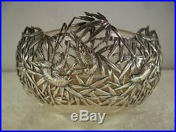 Chinese c1890 Solid Silver Bamboo & Bird Bowl, Luen Wo Shanghai