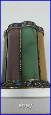 Chinese enameled silver jade lapislazuli Tea caddy