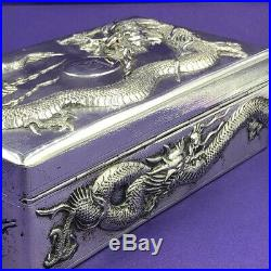 Chinese export dragon silver cigarette / cigar box