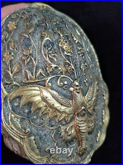 Chinese gold&silver boxes bronze flower&phoenix veins dynasty box