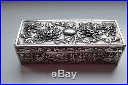 Chinese silver Box export solid silver HC Shanghai Chrysanthemen Relief 13 cm L
