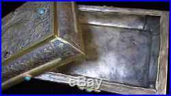 Chinese silver Square box Gilt bronze covered box engrave Phoenix motif