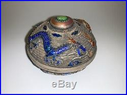 Chinese silver filigree box, elegantly decorated with phoenix and dragon