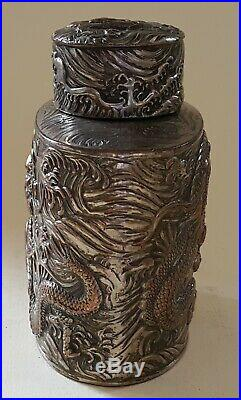 Chinese silver plate vintage Victorian oriental antique dragon tea caddy box