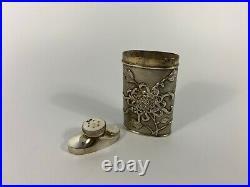 Chinese silver talcum powder dispenser, Luen Wo, Shanghai, c. 1900