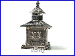 Chinese temple charm figural building Miniature trinket Box Pill sterling silver