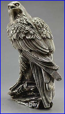 Collectible Decorated Old Handwork Tibet Silver Carve Eagle On Tree Box & Statue