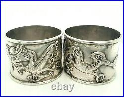 Dragon Napkin Ring Sterling Silver Chinese Export c. 1910 With Box