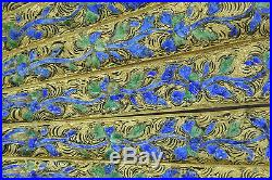 Exquiste Large 19th C. Century Chinese Gilt Silver Filigree Enamel With Box Fan