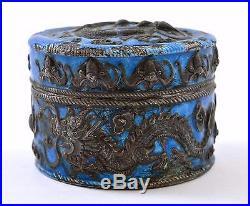 Early 20C Chinese Silver Cobalt Blue Enamel Scholar Box Repousse Dragon Mk