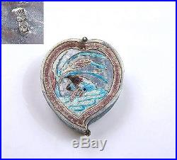 Early 20C Chinese Silver Enamel Peach Heart Shaped Snuff Pill Box Duck Bird Mk