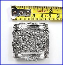 Early 20C Chinese Silver Repousse Bat Figure Figurine Calligraphy Box Mk