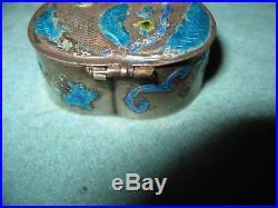 Early Signed Chinese Silver Gilt & Enamel Hinged Figural Floral Box With Mirror