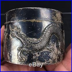 Elegant Antique Chinese Export Sterling Silver Trinket Box with Dragons by WH