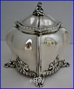 English Chinese Chippendale Georgian Style Sterling Tea Caddy London 1904