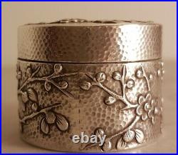Exceptional Antique Chinese Export Wang Hing Silver Blossom Hammered Box